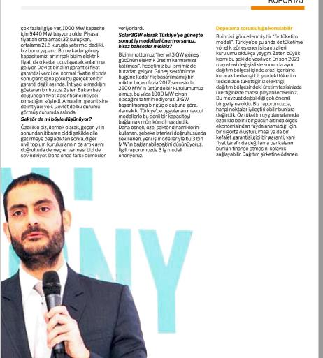 SOLAR3GW Yönetim Kurulu Başkanı Yusuf Bahadır Turhan'ın Milliyet Enerji Röportajı